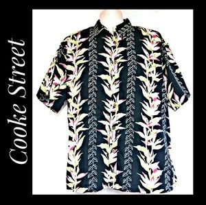 Cooke Street Hawaiian Shirt Black Bird of Paradise